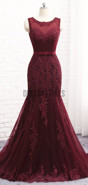 Elegant Round Neck Beaded Lace Applique Mermaid Long Evening Prom Dresses, PD0025