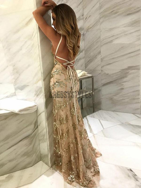 Chic Spaghetti Strap V Neck Lace Up Mermaid Long Evening Prom Dresses, PD0026