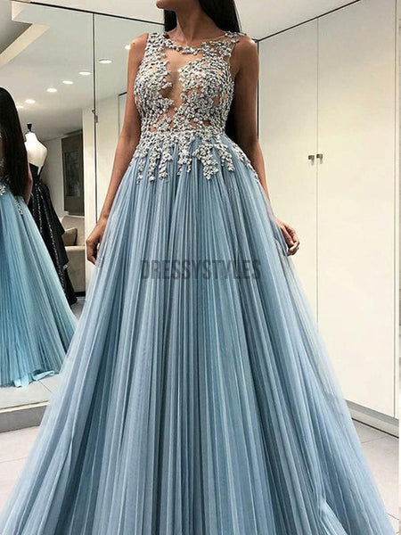 Shiny Round Neck Sequin Open Back Chiffon A Line Long Evening Prom Dresses, PD0027