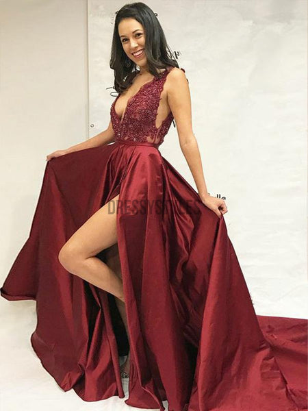 Fashion V Neck Lace Top Side Slit Satin A Line Beaded Long Evening Prom Dresses, PD0029