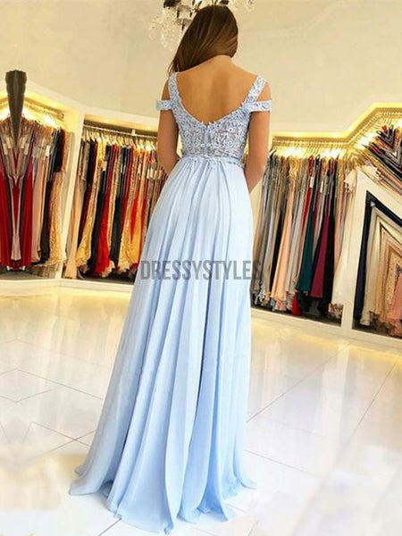 Off Shoulder Lace Applique Chiffon A Line Side Slit Long Evening Prom Dresses, PD0030