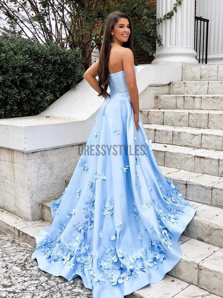 Pale Blue Strapless Satin A Line Applique With Train Long Evening Prom Dresses, PD0031