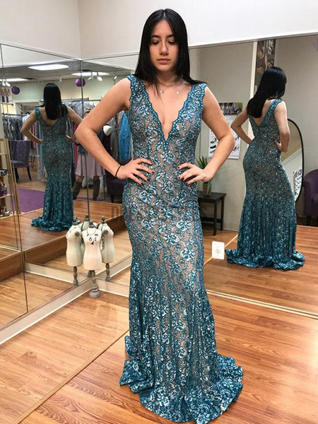 Unique Deep V Neck Open Back Mermaid Long Prom Dresses, PD0066
