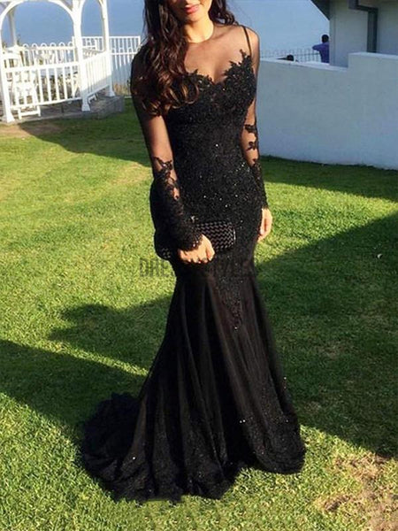 Black Long Sleeves Lace Applique Mermaid Tulle Long Evening Prom Dresses, PD0014