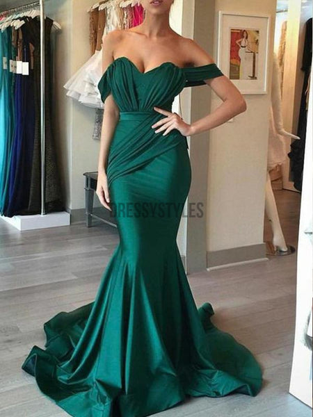 Chic Off The Shoulder Sweetheart Mermaid Wrinkle Long Evening Prom Dresses, PD0002