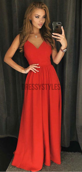 Simple Spaghetti Strap Red Backless A Line Floor Length Long Evening Prom Dresses, PD0033