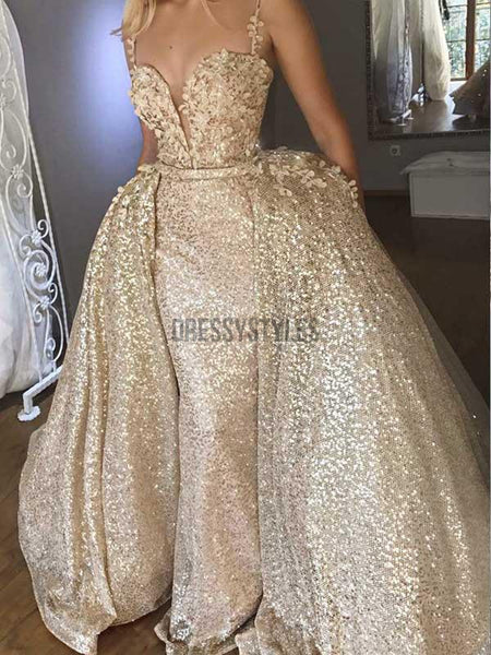 Sparkly Golden Detachable Train Sequin Applique Long Evening Prom Dresses, PD0035