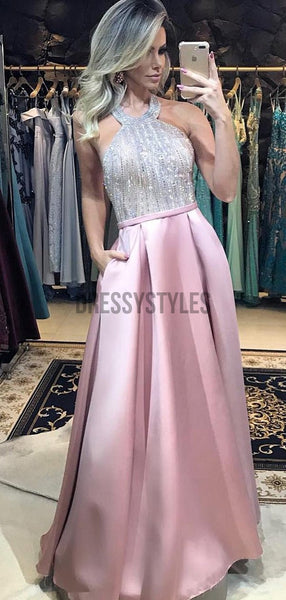 Halter Satin A Line Beaded Floor Length Long Evening Prom Dresses, PD0039