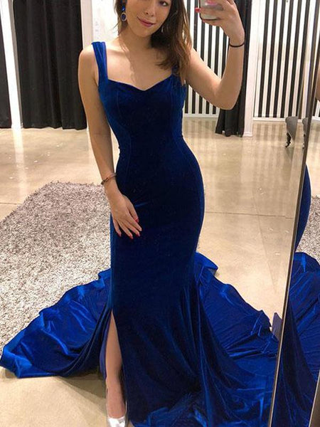 Royal Blue Backless Mermaid With Train Long Prom Dresses, PD0071