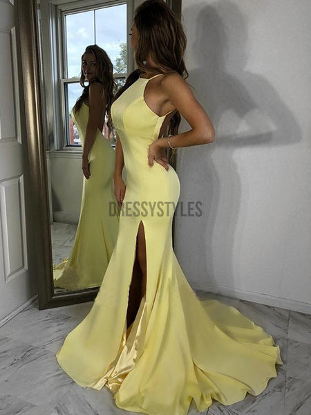 Sexy Halter Light Yellow Backless Side Slit Mermaid Long Evening Prom Dresses, PD0003