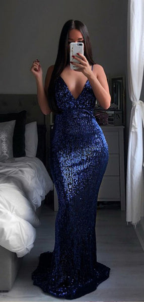 Shiny Spaghetti Strap Sequin Mermaid Long Evening Prom Dresses, PD0047