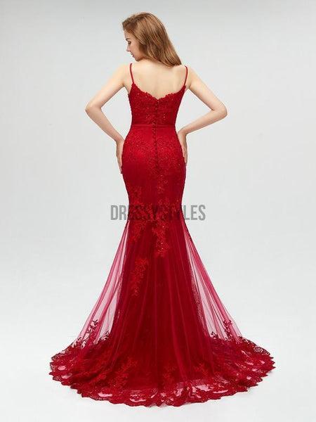 Elegant Spaghetti Strap Red Lace Mermaid Long Prom Dresses, MD612