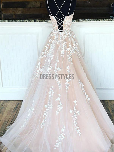 Elegant Lace Up Back Tulle A Line With Applique Evening Prom Dresses, PD0068