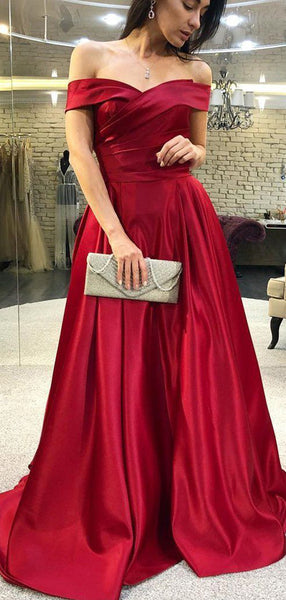 Simple Off Shoulder Satin A Line Long Evening Prom Dresses, PD0072