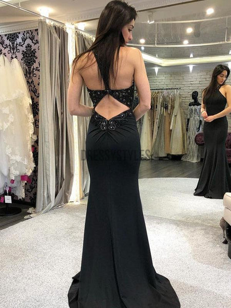 Simple Halter Black Open Back Mermaid Long Evening Prom Dresses, PD0051
