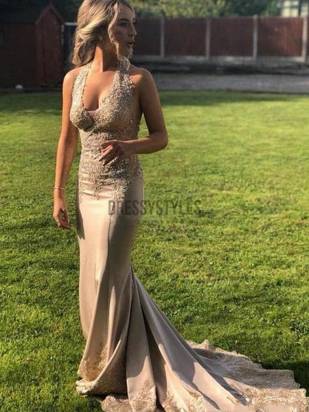 Halter Open Back Lace Applique Mermaid Long Evening Prom Dresses, PD0054
