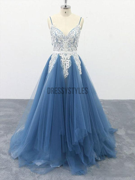 Spaghetti Strap Lace Applique Tulle A Line Evening Gown Prom Dresses, PD0055
