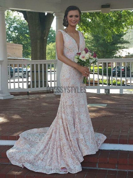 Gorgeous Sleeveless Lace Applique Mermaid Beaded Long Evening Prom Dresses, PD0018