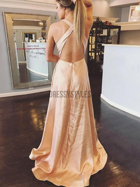 Pretty V Neck Criss Cross Open Back Satin A Line Long Evening Prom Dresses, PD0006