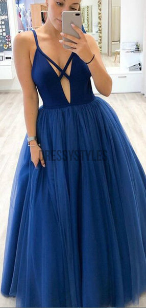 Simple Spaghetti Strap V Neck Tulle A Line Long Evening Prom Dresses, PD0057