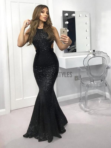 Charming Halter Black Sequin Mermaid Long Evening Prom Dresses, PD0060