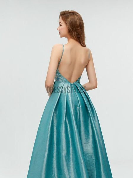 Unique Taffeta Backless A-line Long Prom Dresses With Beads,MD603
