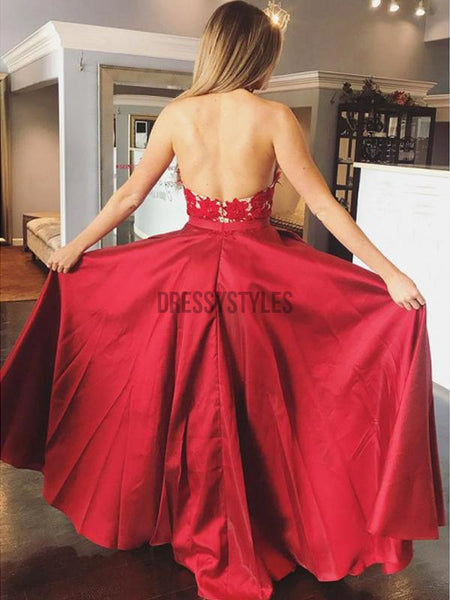 Halter Red Lace Applique Satin A Line Backless Long Evening Prom Dresses, PD0007