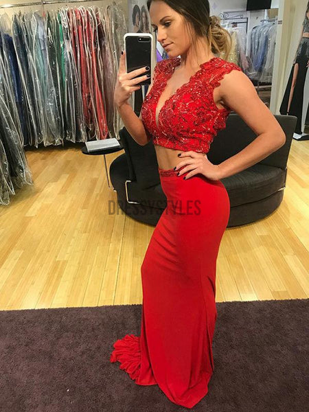 Red Two Pieces Deep V Neck Mermaid Long Evening Prom Dresses, PD0061