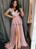 Long Sleeves Lace Top Satin A Line Side Slit Long Prom Dresses, PD0062
