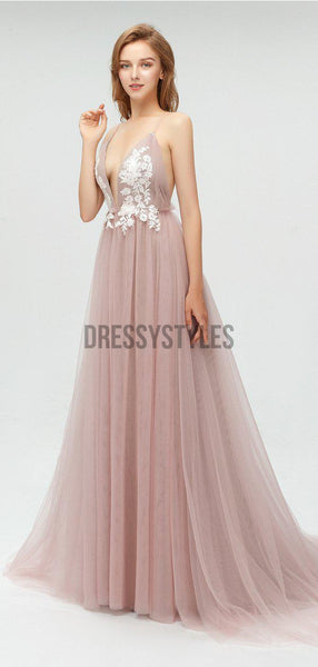Sexy Deep V Neck Lace Applique Tulle A Line Long Prom Dresses, MD611