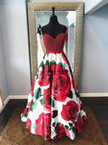 A Line Sweetheart Prom Dresses Beaded Red Dress with Flowers DPB138