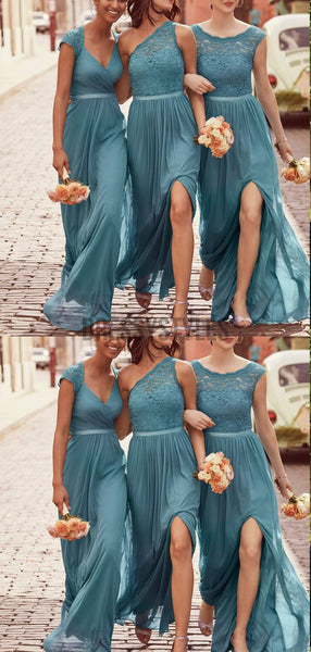 Charming Mismatched Chiffon Lace Top A Line Elegant Long Bridesmaid Dresses, MD488