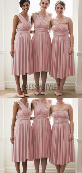 Mismatched Cheap Blush Pink A Line Keen Length Bridesmaid Dresses, MD509