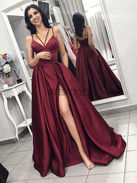Chic Burgundy Spaghetti Strap Side Slit Backless Long Evening Prom Dresses, BW0597