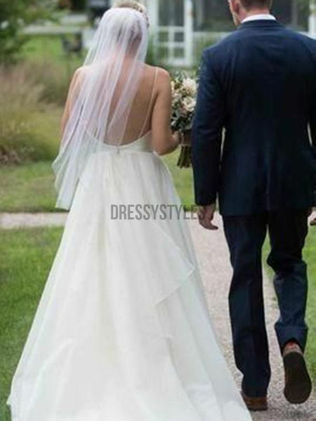 Simple V Neck Backless A Line Organza Floor Length Long Wedding Dresses, WD1110