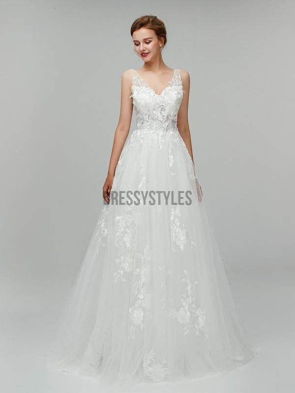 Gorgeous Lace Applique V Neck A-line Backless Long Wedding Dresses XDM1103
