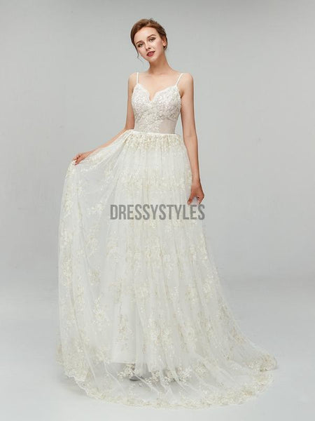 Spaghetti Strap Lace Backless Sweep Trailing Long Wedding Dresses XDM1104