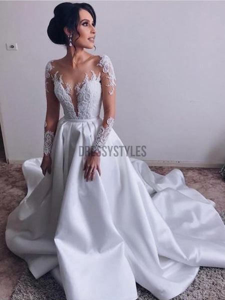 Charming Long Sleeves Lace Top Satin A Line With Train Long Wedding Dresses, WD1112