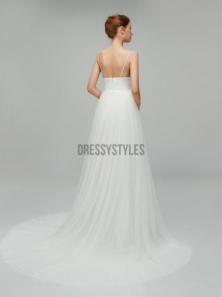 Simple Spaghetti Strap Cheap Backless Long Wedding Dresses XDM1105