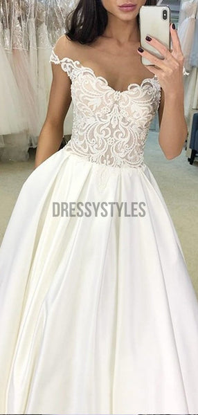 Pretty Cap Sleeves Lace Top Satin A Line Long Wedding Dresses, WD1113