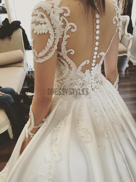 Gorgeous Long Sleeves Lace Applique A Line With Train Long Wedding Dresses, WD1114
