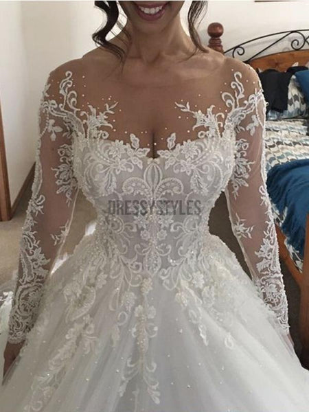 Gorgeous Long Sleeves Ivory Lace Applique Ball Gown Long Wedding Dresses, WD1109