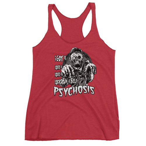 lockdown a-billy Psychoisis Women's Racerback Tank