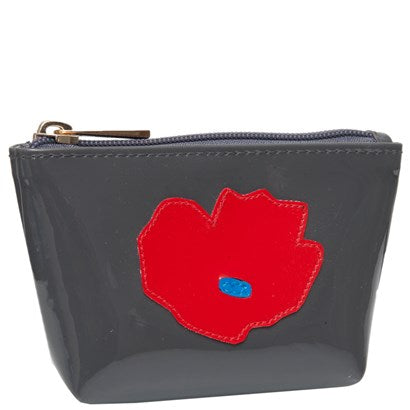 Mini Avery in charcoal with red poppy
