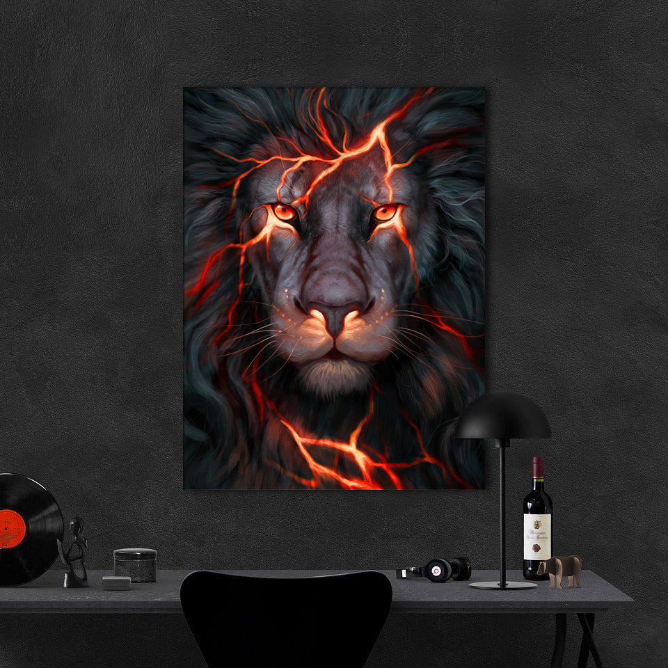 Tablou Canvas - Fire Lion - Tablomag