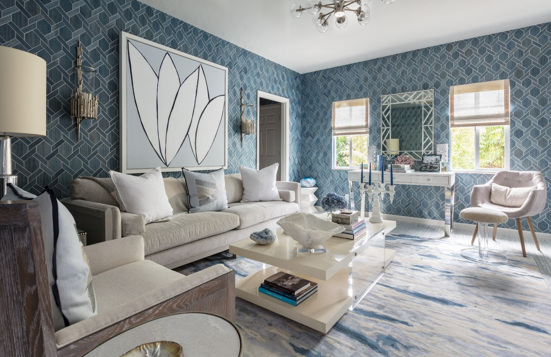 Kips Bay Living Room by Mabley Handler | White and Blue Living Room Ideas | © Nikolas Sargent | Read more in the LuxDeco.com Style Guide