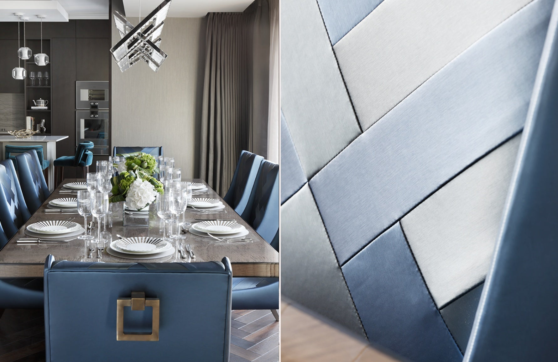 Neutral and Blue Dining Room – Dining Room Colour Palettes - Dining Room Colour Schemes & Colour Combination ideas – Read in the LuxDeco.com Style Guide
