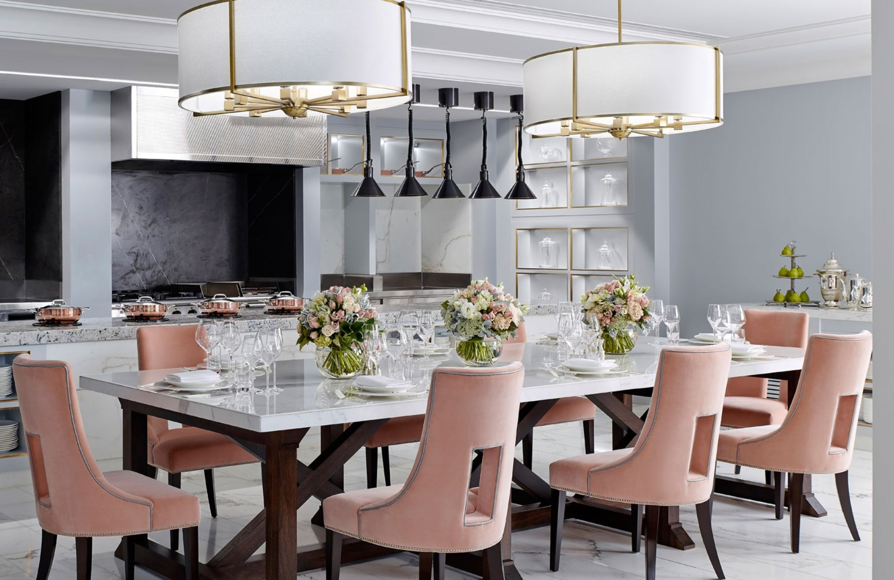 Pink and Grey Dining Room – Dining Room Colour Palettes - Dining Room Colour Schemes & Colour Combination ideas – Read in the LuxDeco.com Style Guide