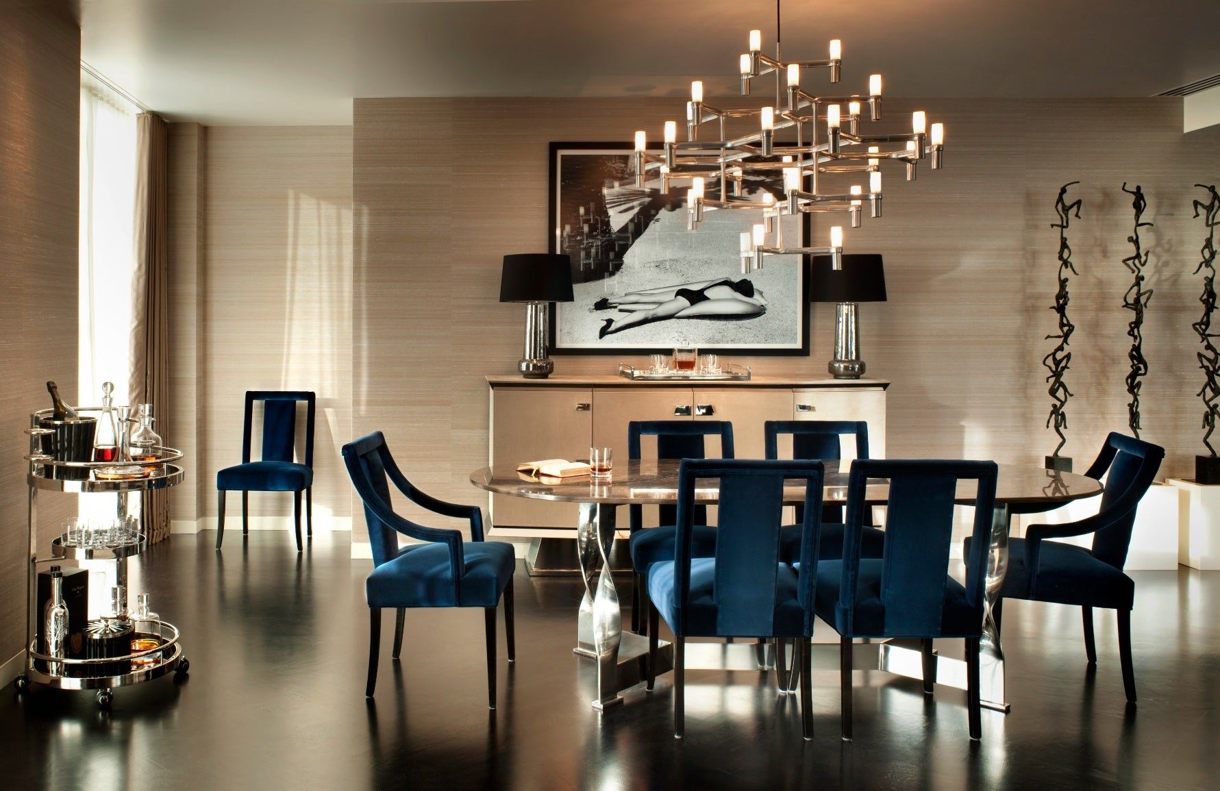 Beige and Blue Dining Room – Dining Room Colour Palettes - Dining Room Colour Schemes & Colour Combination ideas – Read in the LuxDeco.com Style Guide