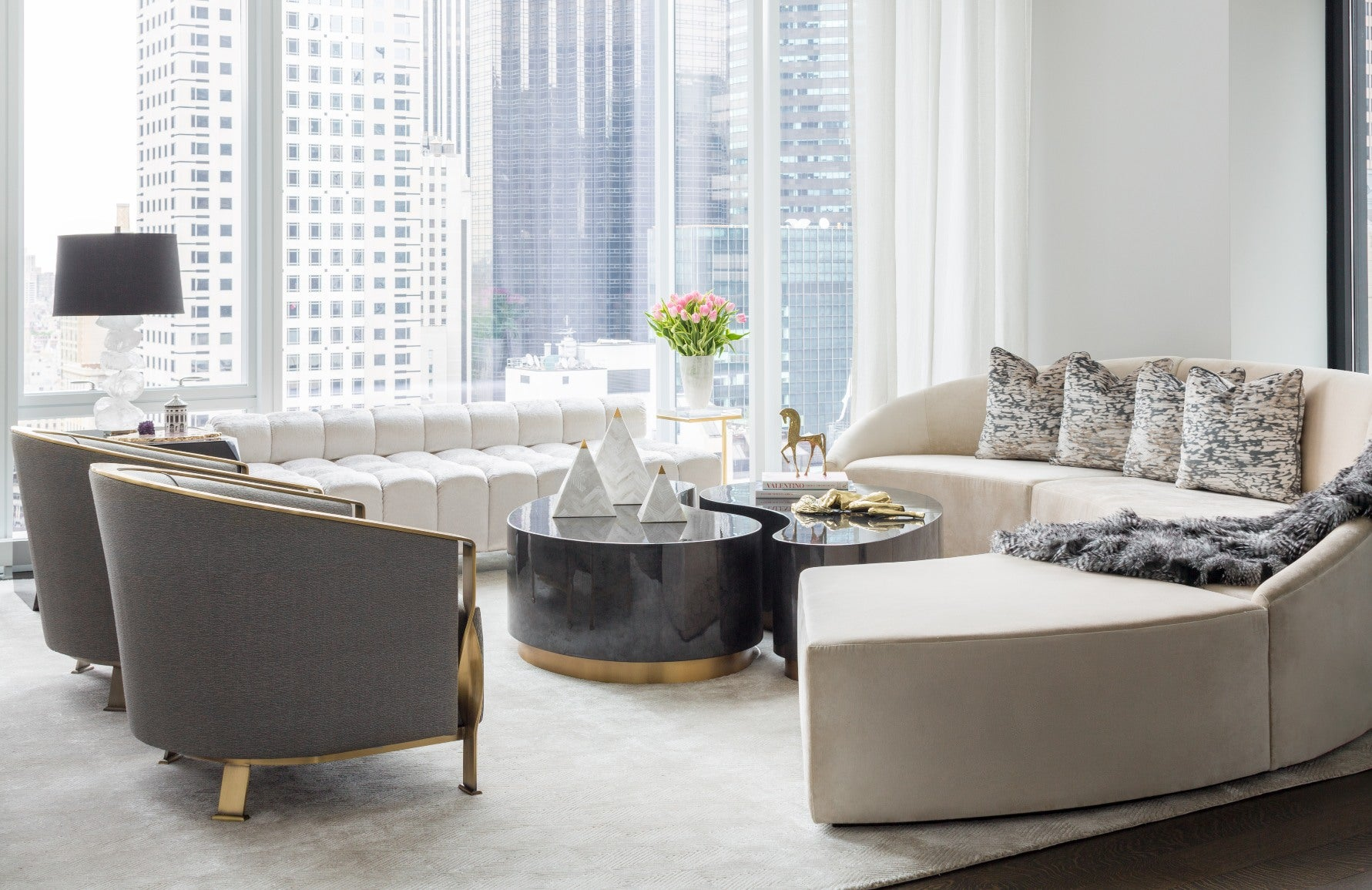 Neutral Living Rooms | Carlyle Designs New York Living Room |Read more and shop the look at LuxDeco.com